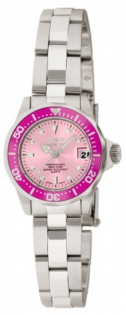 Women's Pro Diver Pink Dial Stainless Steel Stainless Steel Band Quartz Watch