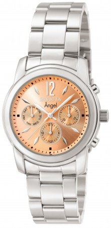 Women's Angel Copper Dial Stainless Steel Band Quartz Watch