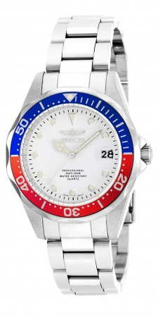 Men's Pro Diver White Dial Stainless Steel Stainless Steel Band Quartz Watch
