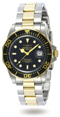 Men's Pro Diver Black Dial Gold Tone, Stainless Steel Stainless Steel Band Quartz Watch