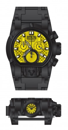 Men's Reserve Yellow Dial Stainless Steel Polyurethane/Stainless Steel Band Quartz Watch