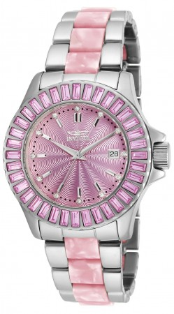 Women's Angel Pink Dial Stainless Steel/Pink Inserts Stainless Steel Band Quartz Watch