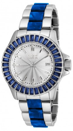 Women's Angel Silver Dial Stainless Steel/Blue Inserts Stainless Steel Band Quartz Watch