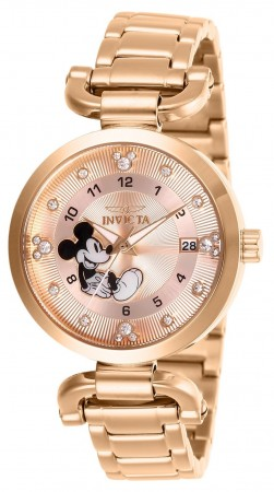 Women's Disney Mickey Mouse Rose Gold Dial Rose Gold Stainless Steel Band Quartz Watch