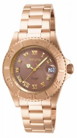 Women's Angel Copper Dial Gold Stainless Steel Band Quartz Watch
