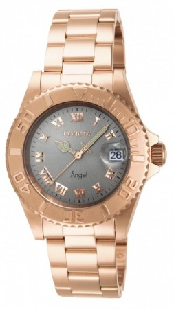 Women's Angel Silver Dial Rose Gold Stainless Steel Band Quartz Watch
