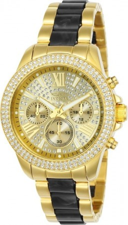 Women's Angel Pave Dial Gold/Black Inserts Stainless Steel Band Quartz Watch