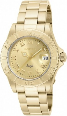 Women's Angel Champagne Dial Gold Stainless Steel Band Quartz Watch
