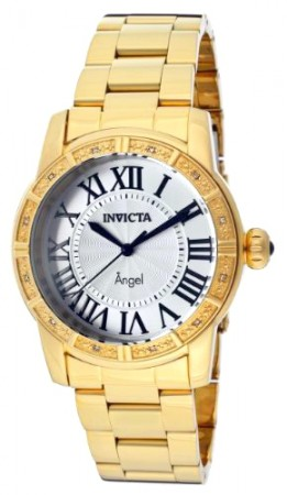 Women's Angel Silver Dial Gold Tone Stainless Steel Band Quartz Watch