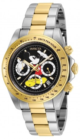 Men's Disney Mickey Mouse Black Dial Gold/Stainless Steel Stainless Steel Band Quartz Watch