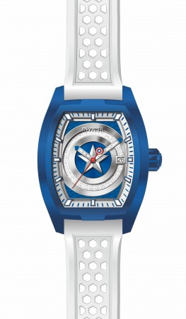 Men's Marvel Captain America Blue Dial White Silicon Band Automatic Watch