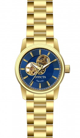 Men's Objet D Art Blue Dial Gold Stainless Steel Band Automatic Watch