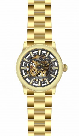 Men's Objet D Art Black Dial Gold Stainless Steel Band Automatic Watch