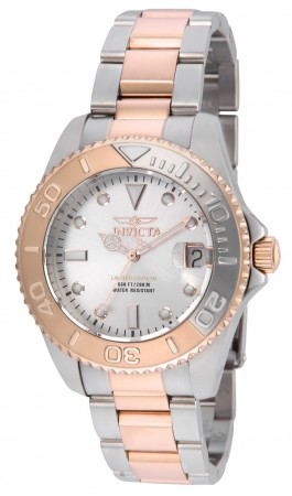 Women's Pro Diver White Dial Rose Gold Stainless Steel Band Quartz Watch