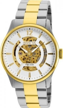 Men's Objet D Art White Dial Gold Stainless Steel Band Automatic Watch