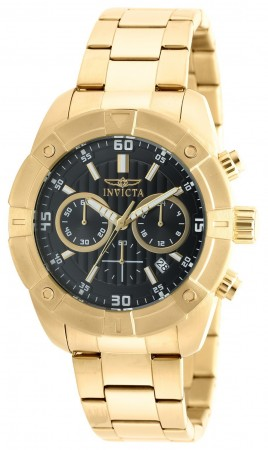 Men's Specialty Black Dial Gold Stainless Steel Band Quartz Watch