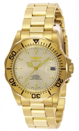 Men's Pro Diver Ivory Dial Gold Tone Stainless Steel Band Automatic Watch