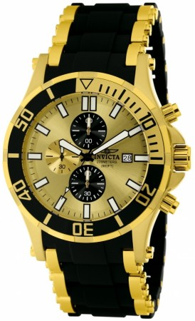 Men's Sea Spider Gold Dial Black, Gold Tone Polyurethane, Stainless Steel Band Quartz Watch
