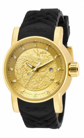 Men's S1 Rally Gold Dial Black Polyurethane Band Automatic Watch