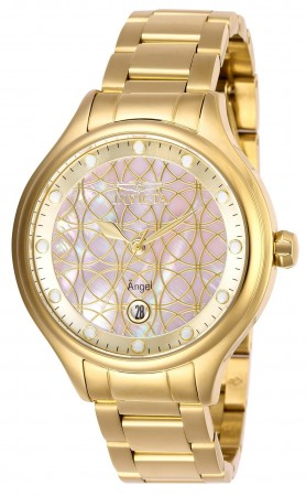 Women's Angel Pink Dial Gold Stainless Steel Band Quartz Watch