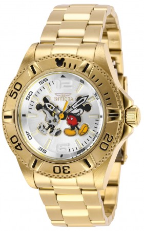 Men's Disney Silver Dial Gold Tone Stainless Steel Band Automatic Watch