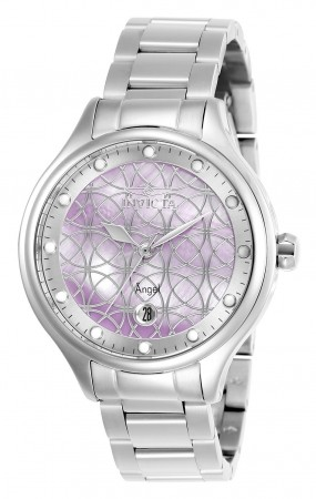 Women's Angel Purple Dial Stainless Steel Stainless Steel Band Quartz Watch