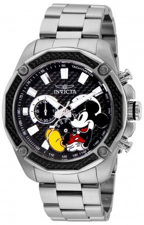 Men's Disney Mickey Mouse Black Dial Stainless Steel Stainless Steel Band Quartz Watch