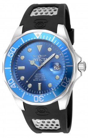 Men's Pro Diver Blue Dial Black Polyurethane Band Automatic Watch