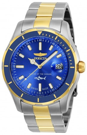 Men's Pro Diver Blue Dial Gold/Stainless Steel Stainless Steel Band Quartz Watch