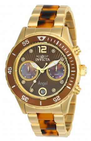 Women's Angel Brown Dial Brown/Gold Stainless Steel Band Quartz Watch