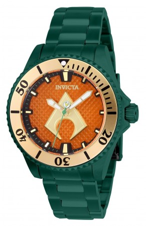 Women's Dc Comics Aquaman Orange Dial Green Stainless Steel Band Automatic Watch