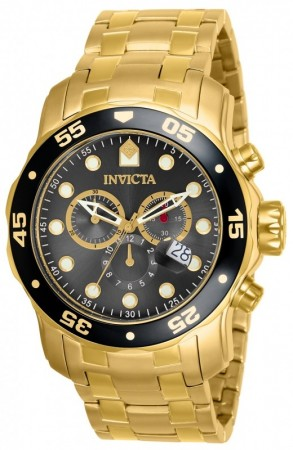 Men's Pro Diver Scuba Black Dial Gold Stainless Steel Band Quartz Watch