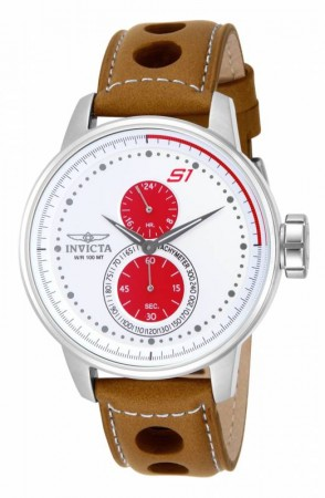 Men's S1 Rally White Dial Brown Leather Band Quartz Watch