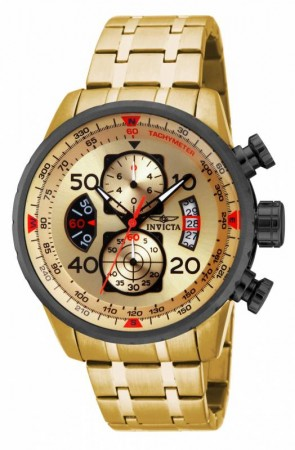 Men's Aviator Gold Dial Gold Stainless Steel Band Quartz Watch