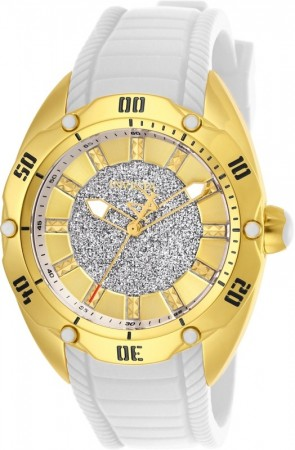 Women's Venom Gold Dial White Silicon Band Quartz Watch
