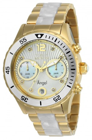 Women's Angel Mother of Pearl Dial Gold Tone, Stainless Steel Stainless Steel Band Quartz Watch