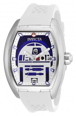 Men's Star Wars R2-D2 Blue Dial White Silicon Band Automatic Watch