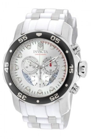 Men's Pro Diver Silver Dial White, Stainless Steel Polyurethane, Stainless Steel Band Quartz Watch