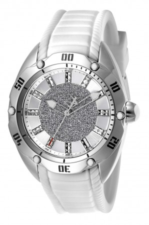 Women's Venom Silver Dial White Silicon Band Quartz Watch