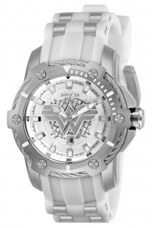 Women's Dc Comics Wonder Woman Silver Dial White/Gld Ins Stainless Steel Band Quartz Watch