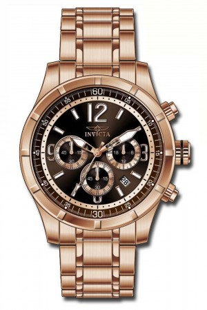 Men's Specialty Brown Dial Rose Gold Tone Stainless Steel Band Quartz Watch