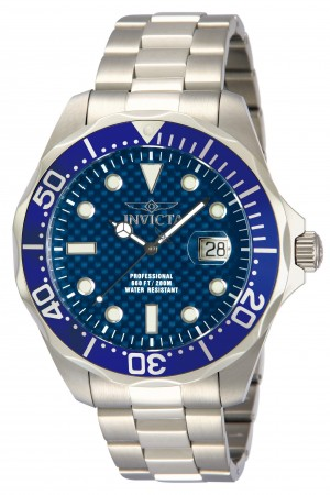 Men's Pro Diver Blue Dial Stainless Steel Stainless Steel Band Quartz Watch