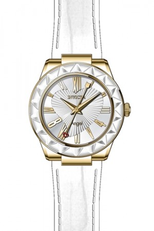 Women's Angel Silver Dial White Leather Band Quartz Watch
