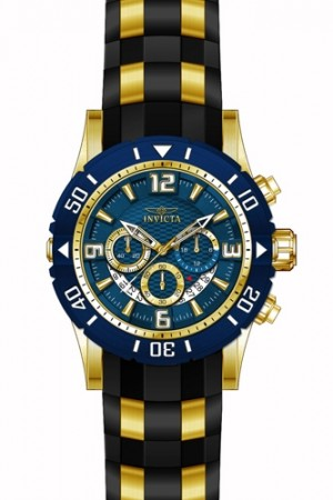 Men's Pro Diver Blue Dial Black, Gold Tone Polyurethane, Stainless Steel Band Quartz Watch