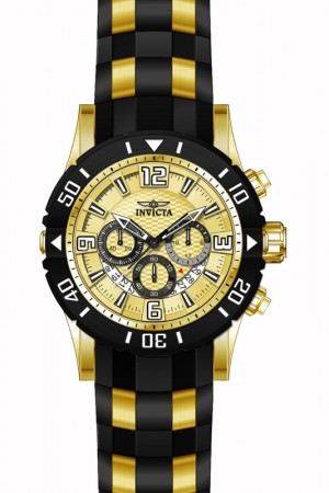 Men's Pro Diver Gold Dial Black, Gold Tone Polyurethane, Stainless Steel Band Quartz Watch