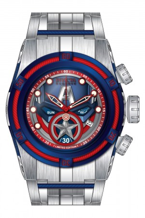 Men's Marvel Blue Dial Silver Stainless Steel Band Quartz Watch