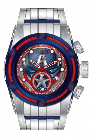 Men's Marvel Blue Dial White Stainless Steel Band Quartz Watch