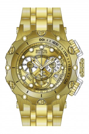 Men's Reserve Gold Dial Gold Tone Stainless Steel Band Quartz Watch