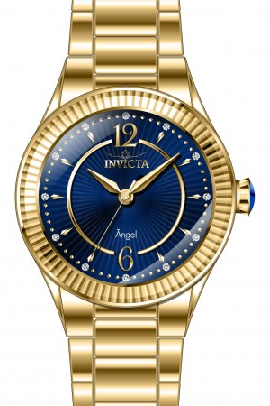 Women's Angel Blue Dial Gold Tone Stainless Steel Band Quartz Watch