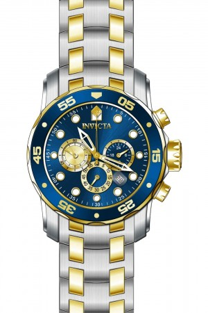 Men's Pro Diver Scuba Blue Dial Gold/Stainless Steel Stainless Steel Band Quartz Watch
